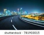 blue neon light design highway... | Shutterstock . vector #781903015