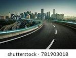 blue neon light design highway... | Shutterstock . vector #781903018