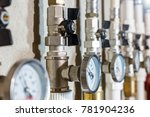 manometers with black valves... | Shutterstock . vector #781904236