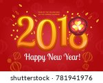 happy chinese new year 2018... | Shutterstock . vector #781941976
