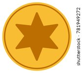6 corners star golden coin icon.... | Shutterstock .eps vector #781949272