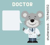 doctor mouse with bubble speech ... | Shutterstock .eps vector #781960552