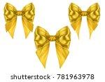 set of three red xmas silk...   Shutterstock . vector #781963978