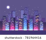night city background. vector... | Shutterstock .eps vector #781964416