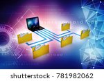 3d illustration of data sharing ...   Shutterstock . vector #781982062