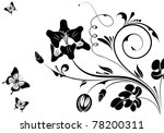 floral ornament with butterfly  ... | Shutterstock . vector #78200311