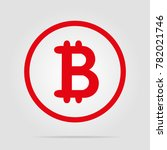 bitcoin red icon with soft... | Shutterstock .eps vector #782021746