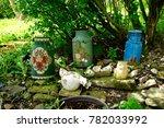 rural stilllife with milk cans... | Shutterstock . vector #782033992