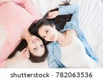 two beauty woman smile happily... | Shutterstock . vector #782063536