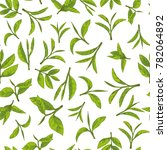 seamless pattern with green tea ... | Shutterstock .eps vector #782064892