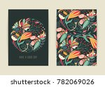 Stock vector cover design with floral pattern hand drawn creative flower colorful artistic background with 782069026