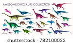 set of silhouettes  dino... | Shutterstock .eps vector #782100022