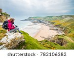 female backpacker looking into... | Shutterstock . vector #782106382