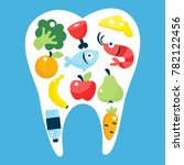food for healthy teeth concept... | Shutterstock .eps vector #782122456