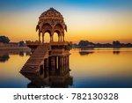Gadi Sagar Lake Jaisalmer Rajasthan with ancient architecture at sunrise. A popular tourist destination in Rajasthan, India.