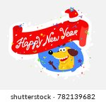 yellow dog is the symbol of the ... | Shutterstock .eps vector #782139682