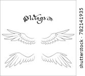angel wings  lettering  drawing ... | Shutterstock .eps vector #782141935