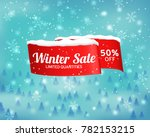 winter sale background with red ... | Shutterstock .eps vector #782153215