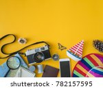 top view travel concept with...   Shutterstock . vector #782157595