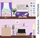 living room with furniture.... | Shutterstock .eps vector #782159686