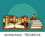 books on shelf with open book... | Shutterstock .eps vector #782186116