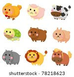 cartoon animal icon set | Shutterstock .eps vector #78218623