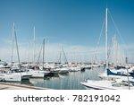 yacht parking in harbor  harbor ... | Shutterstock . vector #782191042