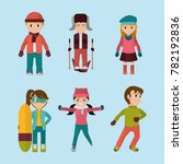 sel child with winter clothes... | Shutterstock .eps vector #782192836