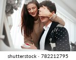 couple in love. the guy makes a ... | Shutterstock . vector #782212795