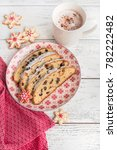 christmas stollen. traditional... | Shutterstock . vector #782222482