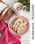 christmas stollen. traditional... | Shutterstock . vector #782222485