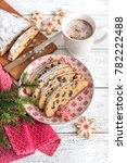 christmas stollen. traditional... | Shutterstock . vector #782222488
