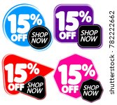set sale tags 15  off  banners... | Shutterstock .eps vector #782222662