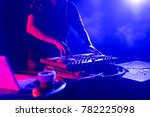 dj with headphones playing... | Shutterstock . vector #782225098