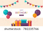happy birthday with balloons | Shutterstock .eps vector #782235766