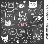 funny doodle cat icons... | Shutterstock .eps vector #782238472