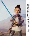 Small photo of Scene depicting Rey discovering the force wielding a lightsaber while training as a Jedi - Hasbro Forces of Destiny action figure