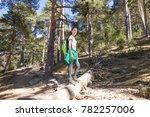 hiker woman with white shirt... | Shutterstock . vector #782257006