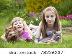 Stock photo little girls and cat and dog 78226237