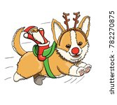 corgi puppy reindeer with santa ...   Shutterstock .eps vector #782270875
