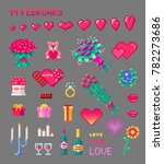 set of cute valentines pixel... | Shutterstock .eps vector #782273686