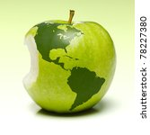 Whole green apple with planet earth map applied (americas) - stock photo