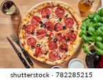 hot delicous pepperoni pizza on ...   Shutterstock . vector #782285215