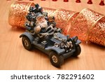 santa claus on the car carries... | Shutterstock . vector #782291602