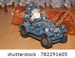 santa claus on the car carries... | Shutterstock . vector #782291605