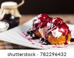 delicious cheese pancakes with...   Shutterstock . vector #782296432
