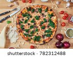 hot delicous pizza with spinach ...   Shutterstock . vector #782312488