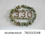 a wreath and a sign with a date ... | Shutterstock . vector #782315248
