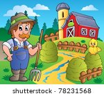 country scene with red barn 3   ... | Shutterstock .eps vector #78231568