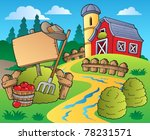 country scene with red barn 5   ... | Shutterstock .eps vector #78231571
